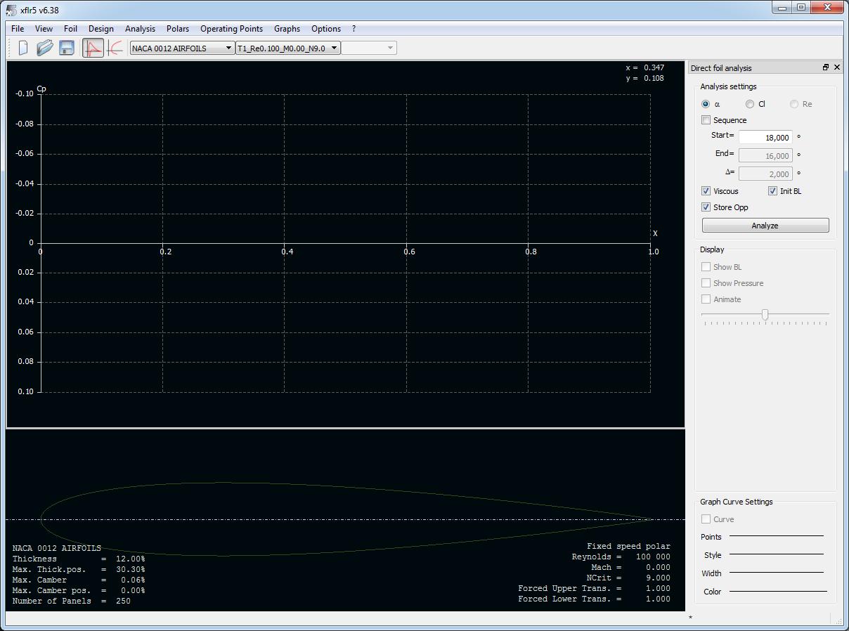 XFLR5 - Анализ определен. Общий вид окна приложения