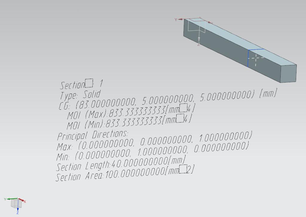 Аннотация, созданная инструментом анализа моментов инерции сечения