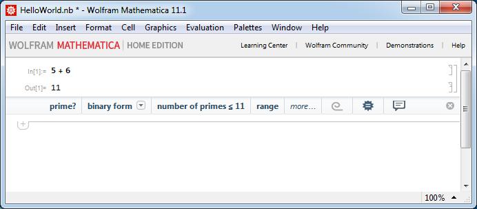 Блокнот Mathematica 11 - Входная и выходная ячейки, Suggestions Bar.