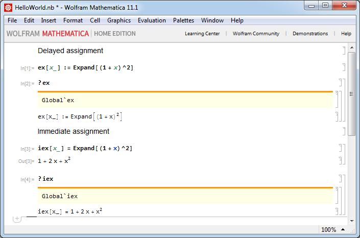 Mathematica полезные заметки - Отложенное присвоение, немедленное присвоение