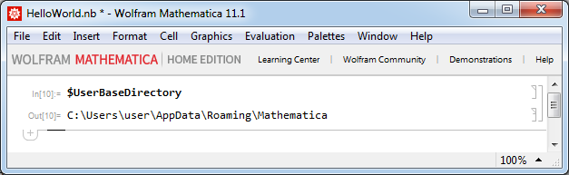 Mathematica - Просмотр системной переменной UserBaseDirectory