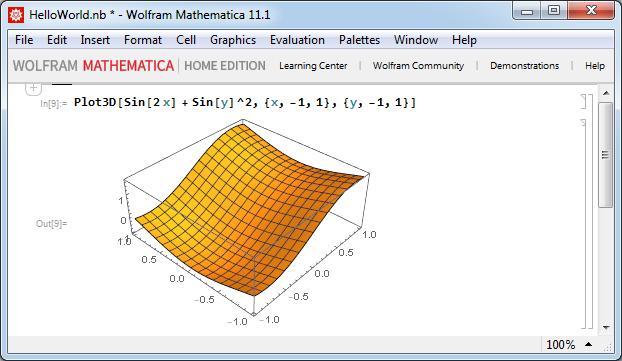 Mathematica - Трехмерный график функции от двух переменных
