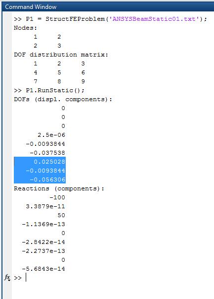 Рама в МКЭ-Ф тестовая задача 01 - Решение (выделены степени свободы третьего узла)