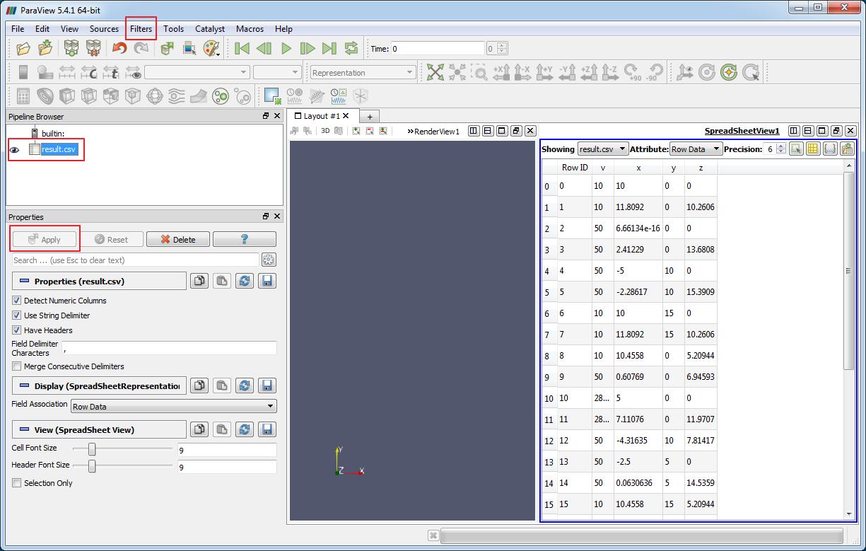 Визуализация CSV в Paraview - Данные из файла отображаются в виде таблицы (Spreadsheet view)