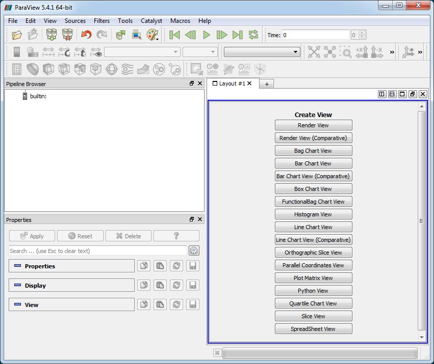 Общий вид интерфейса программы ParaView