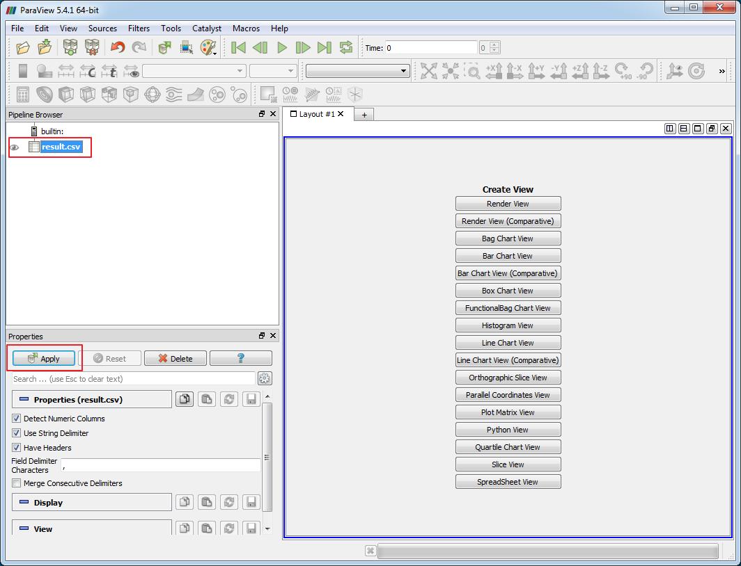 Paraview - Файл CSV открыт для выбора данных