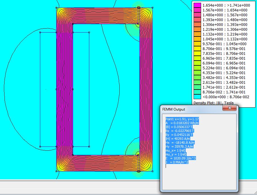 Расчет электромагнита в программе femm 4.2 - Результат расчета
