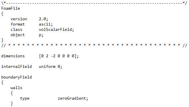 Файлы-словари OpenFOAM. Примеры. Поле в файле начальных условий